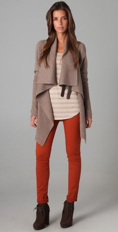 red jeans, stripes and draped sweater