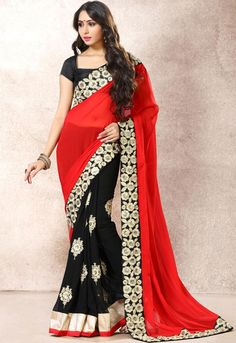 Lush Black and Candy Red Saree