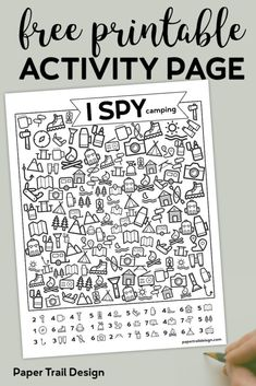 Free Printable I Spy Camping Kids Activity. Road trip game or boredom buster for rainy day or summer boredom kids activity. Free Printable I Spy Camping Kids Activity. Road trip game or boredom buster for rainy day or summer boredom kids activity. Camping Activities For Kids, Camping Crafts, Camping With Kids, Fun Activities, Camping Games, Kids Printable Activities, Paper Games For Kids, Camping Lunches, Camping Signs