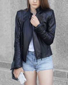 Living In My Leather Jacket & My Levi's #ootd #outfit #summerfashion #fashion #leatherjacket #denimshorts #mackage #levis #womensfashion #womensstyle #summerstyle