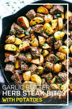 Garlic Butter Herb Steak Bites with Potatoes are such a simple meal that is full. - Garlic Butter Herb Steak Bites with Potatoes are such a simple meal that is full of tender garlic h - Lunch Recipes, Easy Dinner Recipes, Healthy Dinner Recipes, Easy Meals, Healthy Steak Recipes, Steak Dinner Recipes, Easy Recipes, Simply Recipes, Healthy Organic Recipes