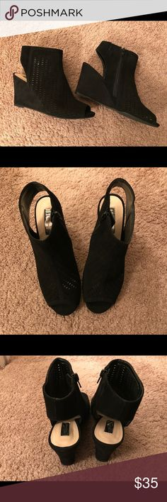 INC Woman's Black Wedges Black Suede Wedge Shooties Worn Once Excellent Condition INC International Concepts Shoes Wedges