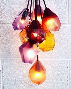 Geometric pendent lights #glass #glassblowing #glassblower #lightingdesign #lighting #pendantlighting #designermaker #crafts