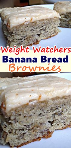 Denser than banana bread, this dessert is rich and filling. The brown butter frosting is something you will dream about days after the bars disappear from your serving platter. Banana Recipes, Ww Recipes, Brownie Recipes, Sweet Recipes, Cooking Recipes, Recipies, Weight Watcher Desserts, Weight Watcher Banana Bread, Köstliche Desserts