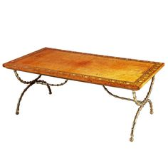 A Fine Burr Oak and Polished Brass Low / Coffee Table   From a unique collection of antique and modern coffee and cocktail tables at http://www.1stdibs.com/furniture/tables/coffee-tables-cocktail-tables/