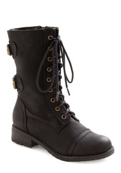 You Tread It Boot - Black, Solid, Buckles, Casual, Military, Urban, Fall, Winter
