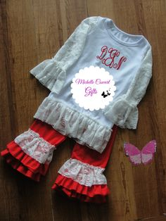 Monogram Red Lace Outfit, GIrls Outfit, Personalized Outfit, Boutique Style Gift, Birthday, Everyday Rustic Monogrammed Custom RTS Red - pinned by pin4etsy.com