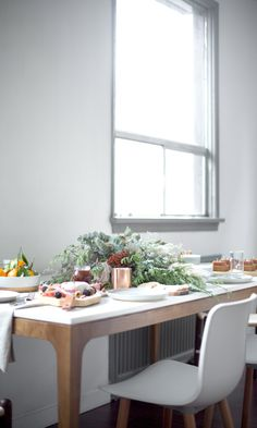 Modern minimalist dining decor for the holidays from Kure