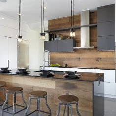 White wood kitchen backsplash a modern space with an industrial feel and warm colored wood on . White Wood Kitchens, Wooden Kitchen, New Kitchen, Cool Kitchens, Kitchen Modern, Kitchen White, Stylish Kitchen, Awesome Kitchen, Dream Kitchens