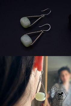 Jade Earrings, Silver Hoop Earrings, Etsy Earrings, Triangle Earrings, Silver Hoops, Natural Gemstones, Dangles, Sterling Silver, Jewelry