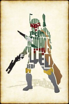Boba Fett typographic wall art print from Blue Horizon prints, http://www.bluehorizonprints.com.au/canvas-art/star-wars-art/boba-fett-typographic-canvas-print/