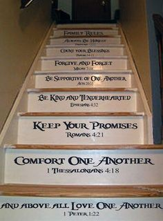 Family Rules Stair Decal In 2019 Painted Stairs Family Painted Staircases, Painted Stairs, Living Haus, Home Living, Home Renovation, Home Remodeling, Stair Decor, Stair Steps, Family Rules