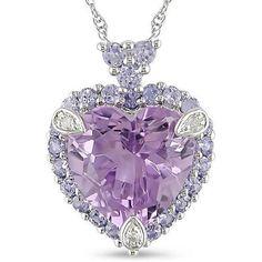Women's #Fashion #Jewelry Miadora 10k White Gold Amethyst, Tanzanite and Diamond accented Necklace (White Gold )