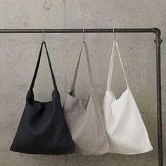 Simple linen across the chest tote by White Nest Market. This beautiful and simple tote was designed with slightly longer straps to allow for wearing. Fog Linen, Linen Bag, My Bags, Purses And Bags, Linens And Lace, Fabric Bags, Black Linen, Cloth Bags, Natural Linen