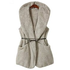 Women Cashmere Hooded  Long Section Lamb Velvet Jackets With Belt Lamb Velvet Jacket Open Stitch Chaquetas Mujer