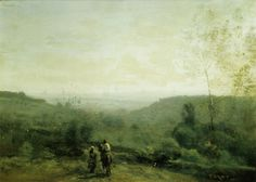 Corot, Jean-Baptiste Camille: Morning: Rising Sun, at the Musee Fabre.  I love his special colour green. No-one else at the time seemed to use that shade.
