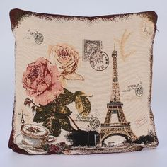 Flower Eiffel Tower Polyester Cotton Fabric For Patchwork Cloth Sewing Jacquard Fabrics Tissue Home Textile Telas Tecido Pink Cushion Covers, Cushion Cover Designs, Pink Cushions, Cushions On Sofa, Decorative Pillow Cases, Throw Pillow Cases, Pillow Covers, Throw Pillows, Sofas Vintage
