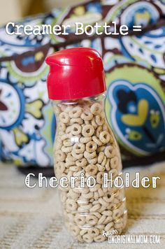 Upcycled creamer bot     Upcycled creamer bottle = cheerio holder! So clever!