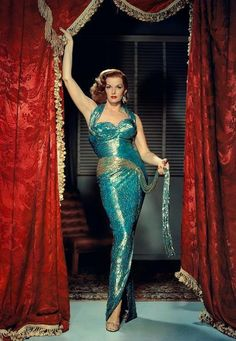 red and blue green. jane russel in The Revolt of Mamie Stover, 1955.