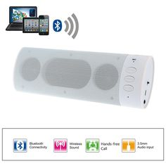 Wireless Stereo Bluetooth 3.0+EDR Speaker Hand-free with 3.5mm AUX Audio Port for iPhone Samsung Notebook Tablet