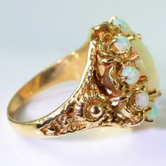 Vintage Opal Ring 14K Yellow Gold size 6 Natural by PCHJewelers