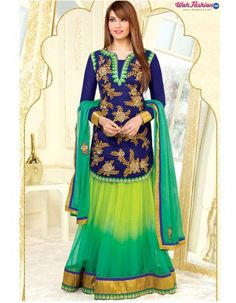 Get Style Statement in sensationally Beautiful Blue and Green Ombre Embroidered Lehenga embellished with Zari, resham embroidery with lace Work. Beautifully Embroidered Blue top with Net Sleeves makes it more magnificent. It comes with Ombre Skirt Lehenga with Lace border and matching Chiffon dupatta.  Whatsapp: For more details whatsapp us on +919915178418