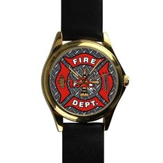 Popular Cool Fireman Emblem on Iron Plate Unisex -tone Round Leather Metal Watch * To view further, visit now : Travel Gadgets