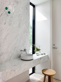 Inglis Architects make the most of a small block and simple materials, creating a home where a striking brick facade hides interior layers to explore. Bathroom Design Inspiration, Bathroom Interior Design, Home Interior, Bathroom Windows, Bathroom Layout, Simple Bathroom, Modern Bathroom, Bathroom Marble, Modern Powder Rooms