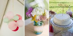teal coral lace burlap wedding decorations | Matt & Sarah's casual, handmade Virginia wedding at Stillhouse Manor | Images: Holly Cromer Photography