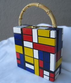 Wooden Purse inspired by Mondrian paintings
