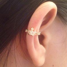 Ear Cuff - Crown hoop ear cuff- Rose gold hoop - Wrap earring - Boho ear cuff- Punk ear cuff by Shinningshop on Etsy