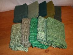 Dishcloths Knit in Cotton in a Bundle of Greens.