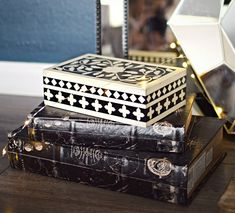 distressed decorative book boxes and tribal jewelry case @athomestores #fairylights