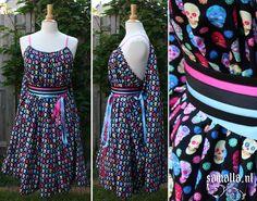Shea Handmaiden / Grecian Dress - <READY TO SHIP> - one size - (Larp, Cosplay, Ren Faire, Festival) - Rainbow Sugar Skull Cotton, kneelength by SamallaNL on Etsy