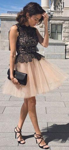 #street #fashion |Black Lace Top + Nude Tulle Skirt |Hello Fashion