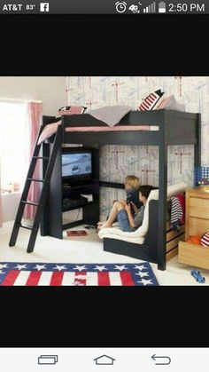 High sleeper bed - Exciting Imaginative Bedroom Ideas For Kids Futon Design, High Sleeper Bed, Awesome Bedrooms, Awesome Beds, Cool Kids Bedrooms, Beautiful Bedrooms, Dream Rooms, Girls Bedroom, Kids Rooms