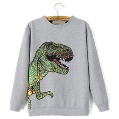 Dinosaur Print Loose Grey Sweatshirt ($19) ❤ liked on Polyvore featuring tops, hoodies, sweatshirts, sweaters, sweatshirt, shirts, grey, grey sweatshirt, gray sweatshirt and grey long sleeve shirt