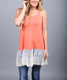 This Coral Lace-Trim Sleeveless Tunic - Women is perfect! #zulilyfinds..http://zulily.com/invite/cgaebel557