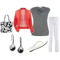 Casual Day - Black, White and Orange - Plus Size, created by intcon on Polyvore