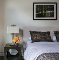 """California #1"" by PurePhoto artist Allen Passalaqua adds a beautiful touch to this bedroom in the Legaspi Courts designed home on Marine Street in the coveted Sunset Park neighborhood of Santa Monica. (Photo by James Wong)"