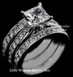 Princess Square Diamond Engagement Ring 3pc Wedding Band Set Sterling Silver sz8