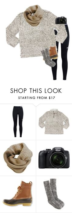 """""""Bean boots are literally SO cozy☺️"""" by mac-moses ❤ liked on Polyvore featuring NIKE, True Grit, Humble Chic, Nikon, L.L.Bean and J.Crew"""