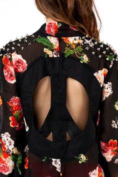Reverse Floral Peace Kimono #cheapchic