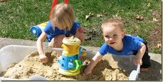 Using an under the bed storage bin for a sand box!  Genius!  Fill with sand and you even have a cover!