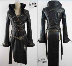 WOMEN MEN fashion punk goth rock black long jacket blazer coat size L female | eBay