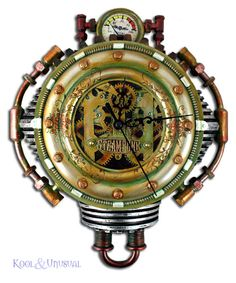 Awesome Col Fizziwig STEAMPUNK Wall Clock Battery Op. $99.95