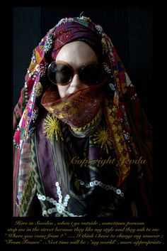 Jevda : Traditional Uzbek Jalak worn on the head , the draped turban is an Indian shawl and around the neck , one of my creation .