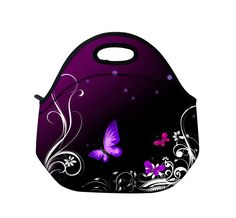 Purple Butterfly Neoprene Insulated Picnic Travel Portable Lunch Bag Tote Women's Handbag Box Food Container Thermal Waterproof
