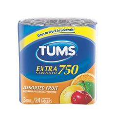 Tums Extra Strength 750, Assorted Fruit,  3 Rolls - 24 Tablets per Pack (Pack of 4) TUMS http://www.amazon.com/dp/B004M2A5IE/ref=cm_sw_r_pi_dp_OKPWvb1A7HVEW