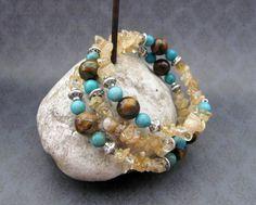 Memory wire bracelet, amber quartz, tiger eye, turquoise, silver, western, cowgirl. $16.00, via Etsy.